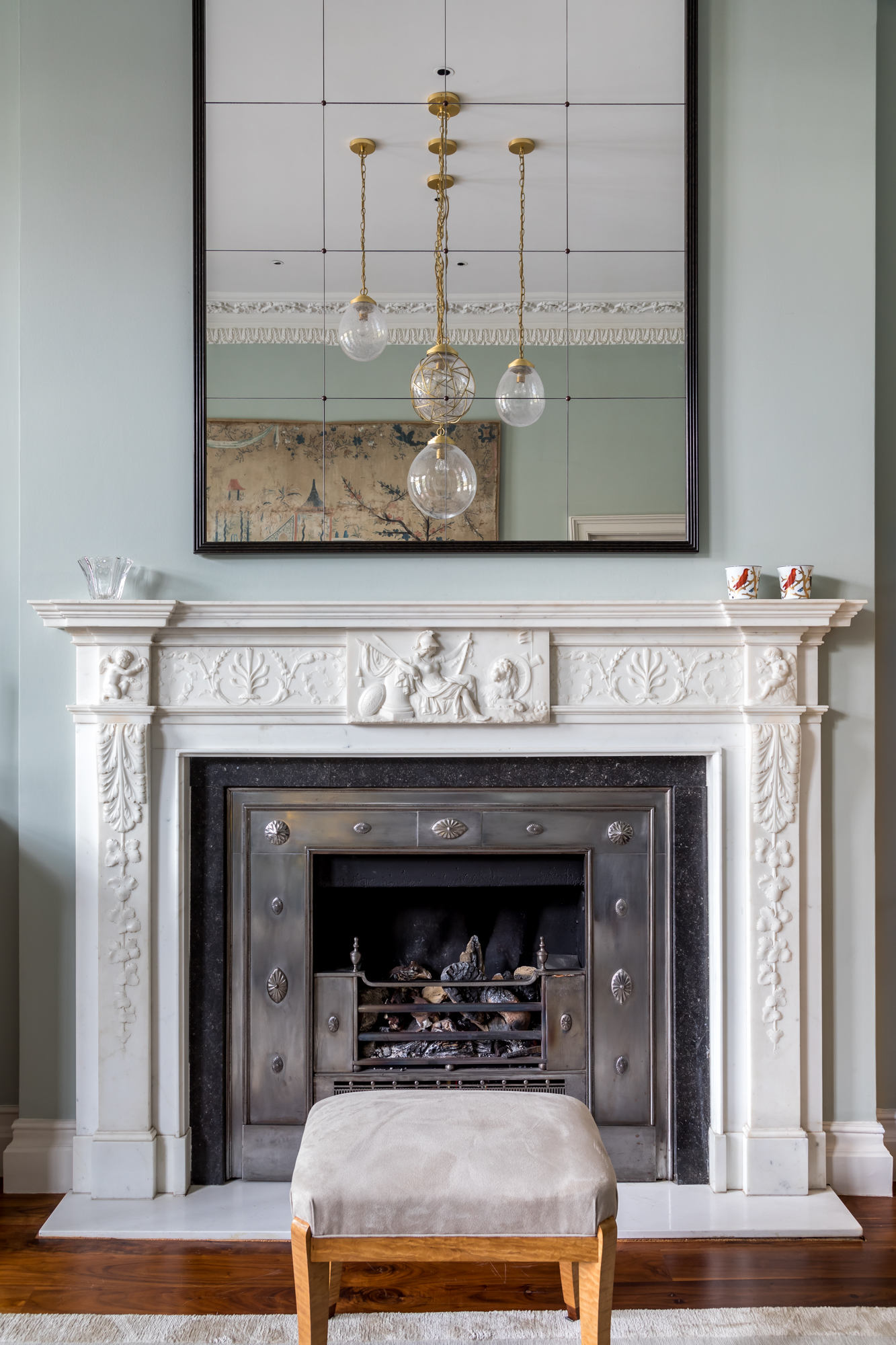 jonathan bond, interior photographer, white surround ornate marble fireplace mantel, holland park, london