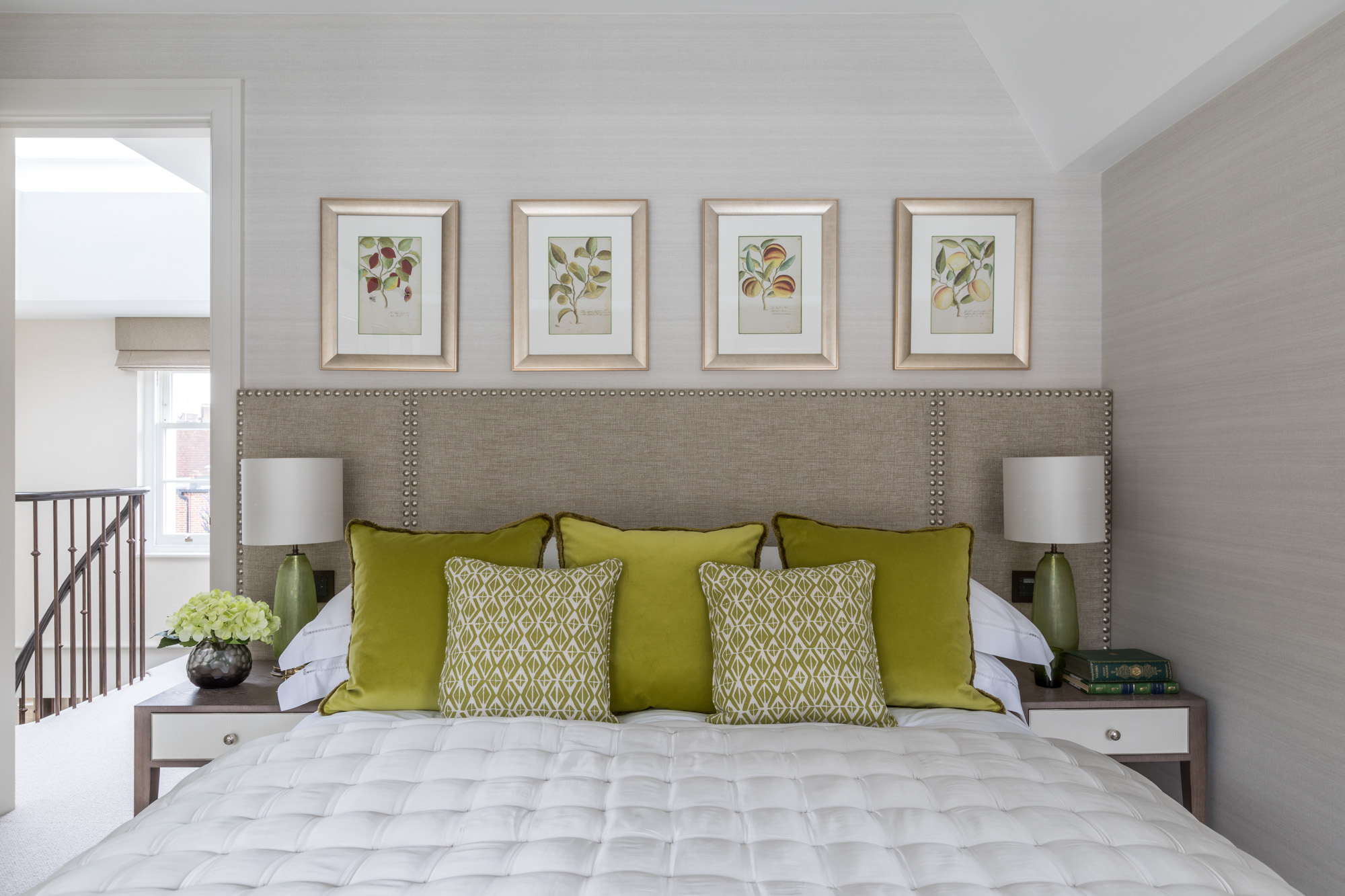 jonathan bond, interior photographer, scatter cushions on double bed, chelsea, london