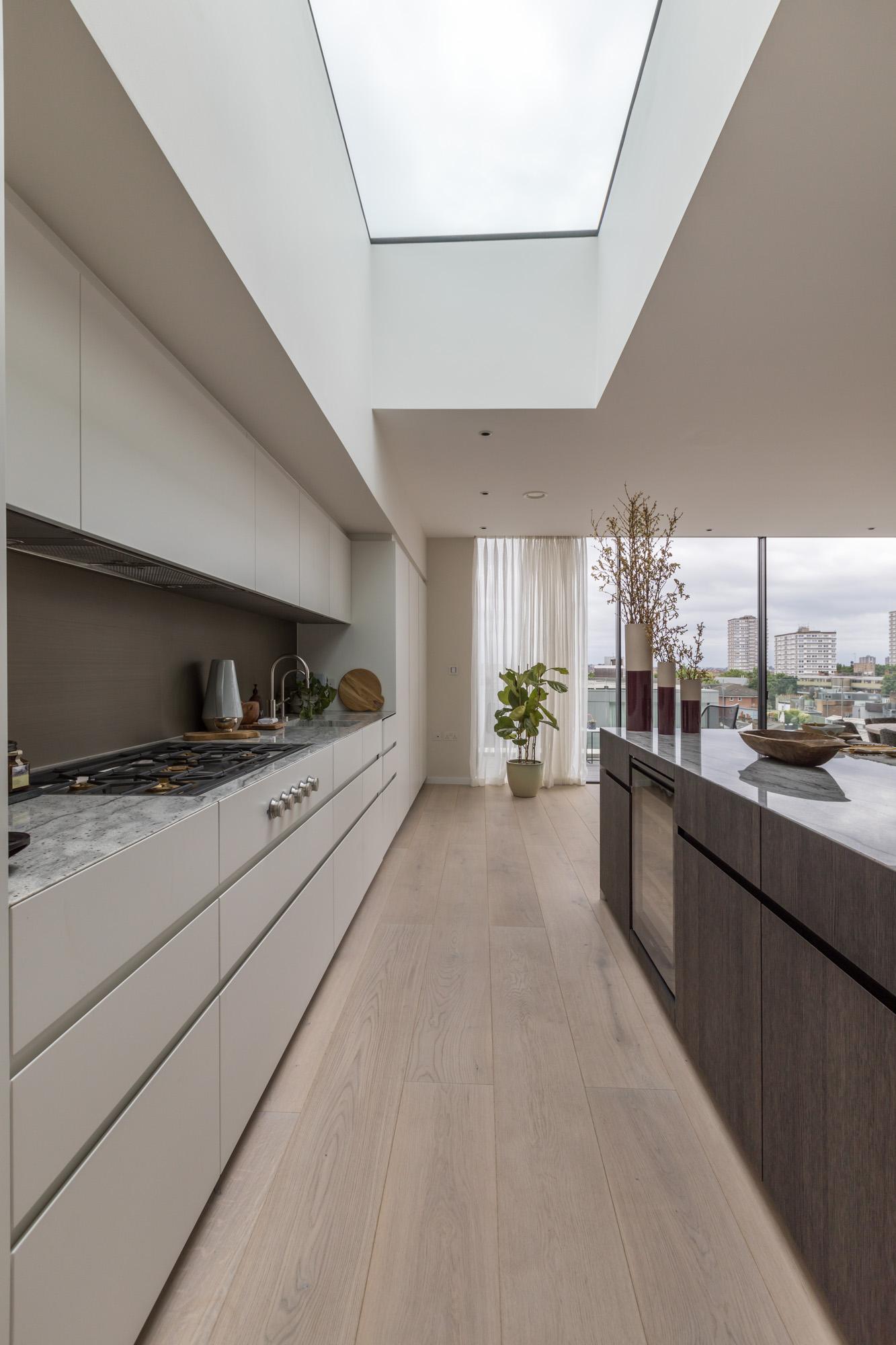 jonathan bond, interior photographer, view of skylight in kitchen, battersea, london