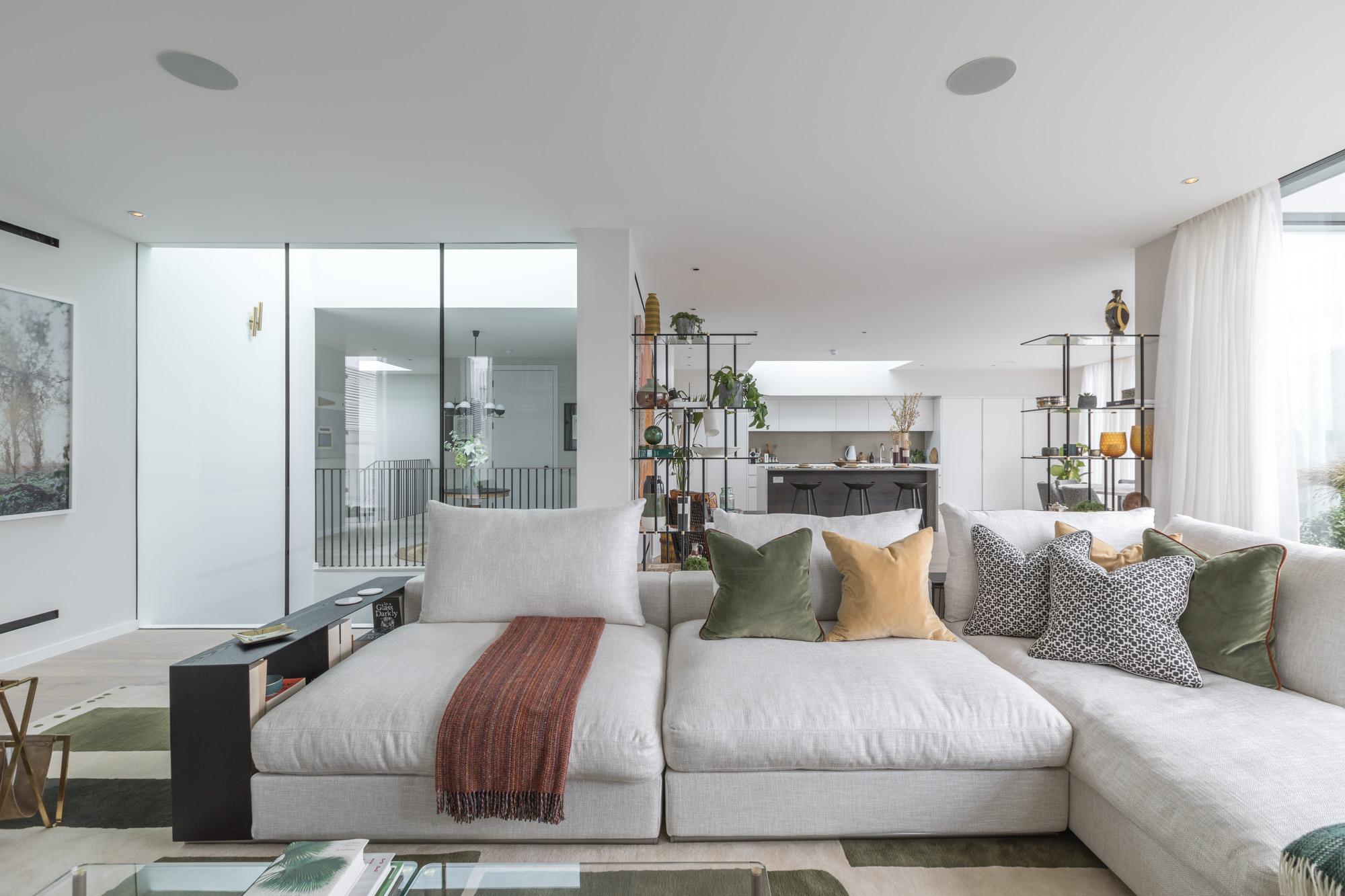 jonathan bond, interior photographer, corner settee in living room, battersea, london