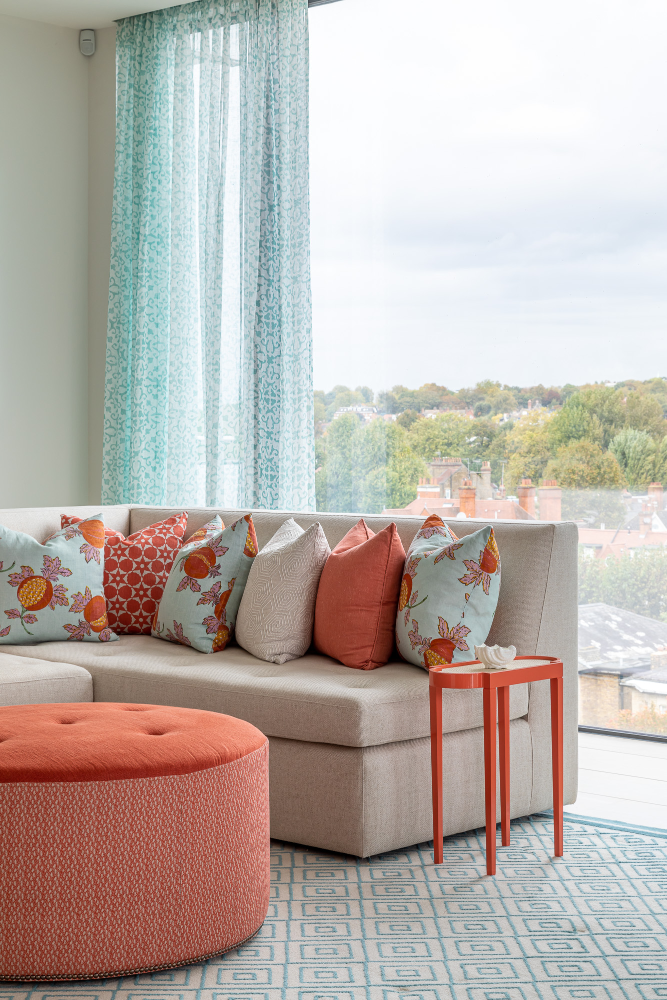jonathan bond, interior photographer, sitting room sofa & scatter cushions window view, belsize park, london