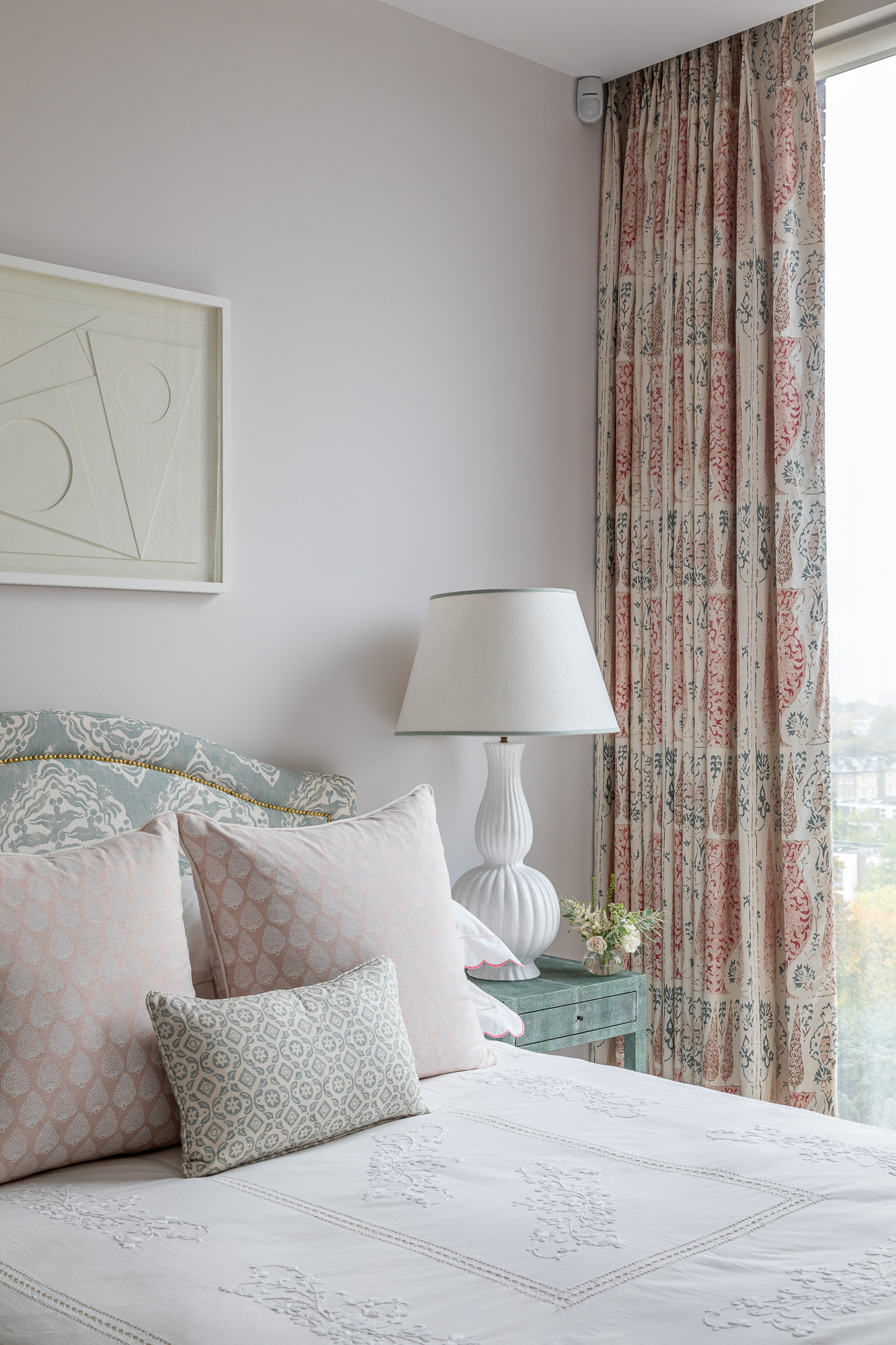 jonathan bond, interior photographer, double bed scatter cushions window view, belsize park, london