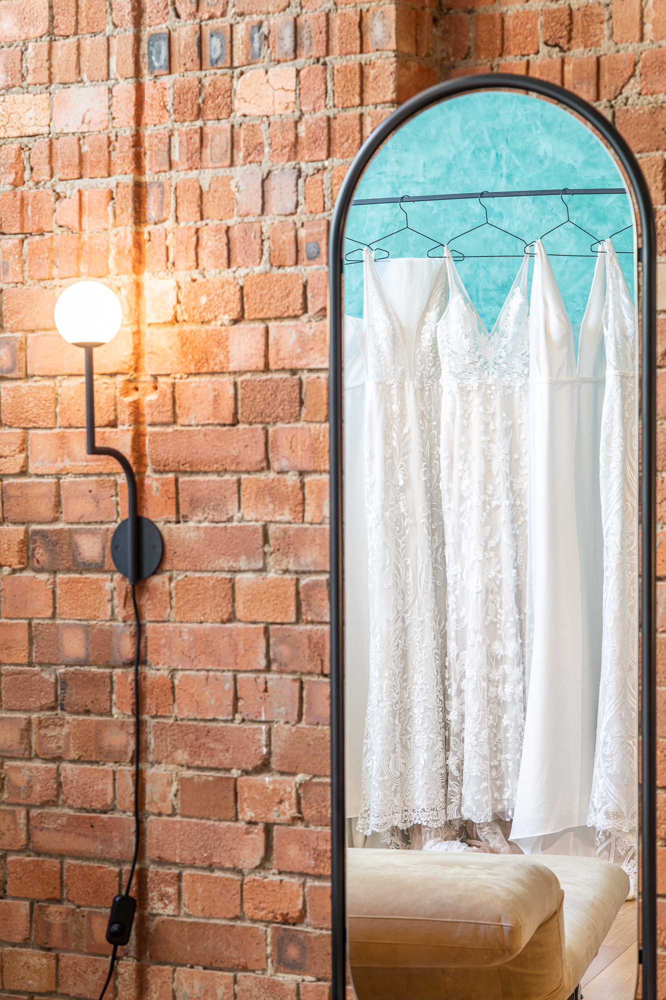 jonathan bond, interior photographer, bridal dresses mirror reflection, made with love, london