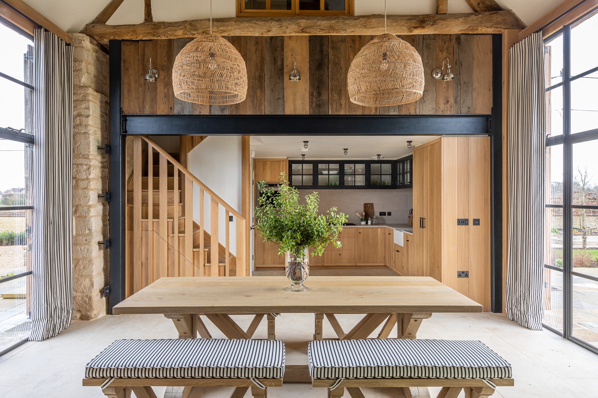 jonathan bond, interior photographer, wooden dining room table & benches, marnhull, dorset
