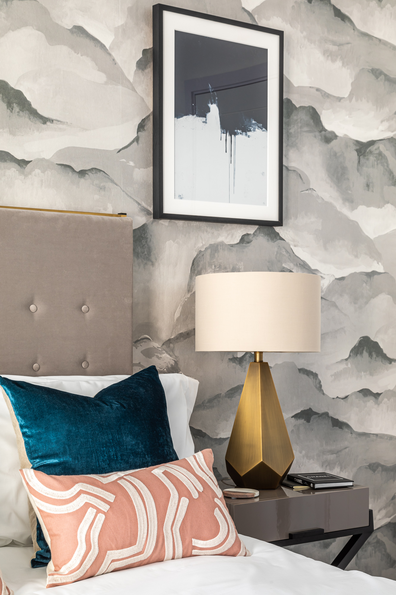 jonathan bond, interior photographer, bedroom scatter cushions bedside lamp, putney london