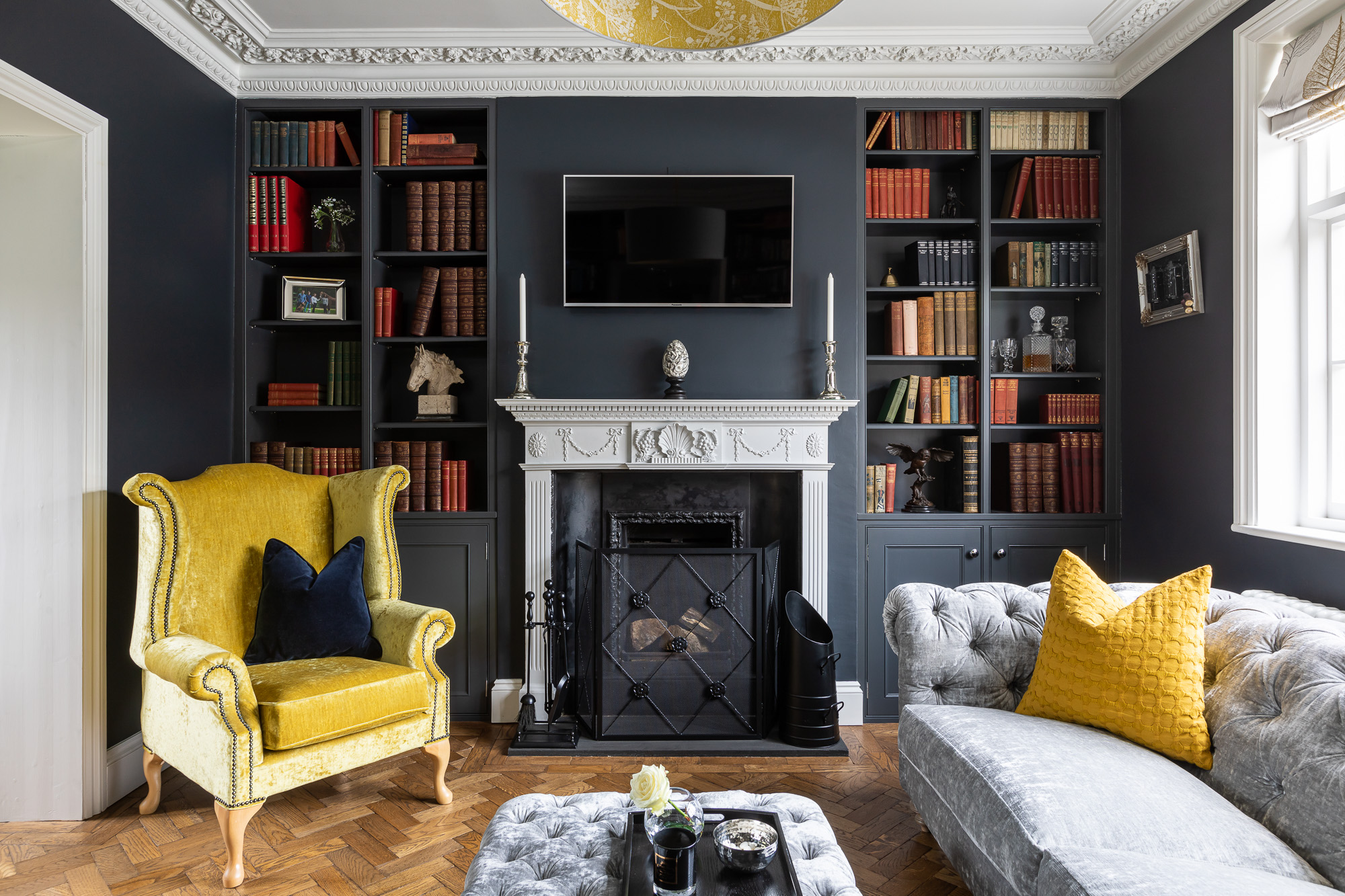 jonathan bond, interior photographer, ornate living room fireplace, harlow
