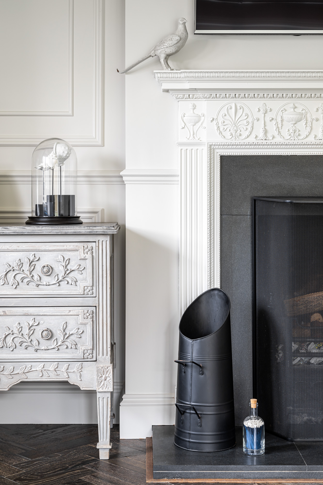 jonathan bond, interior photographer, ornate chest of drawers & white fireplace, harlow