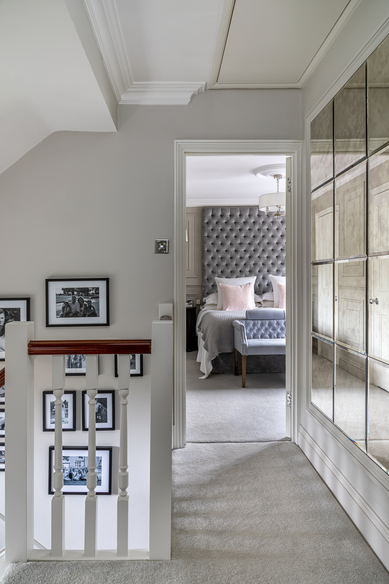 jonathan bond, interior photographer, landing view of bedroom, harlow