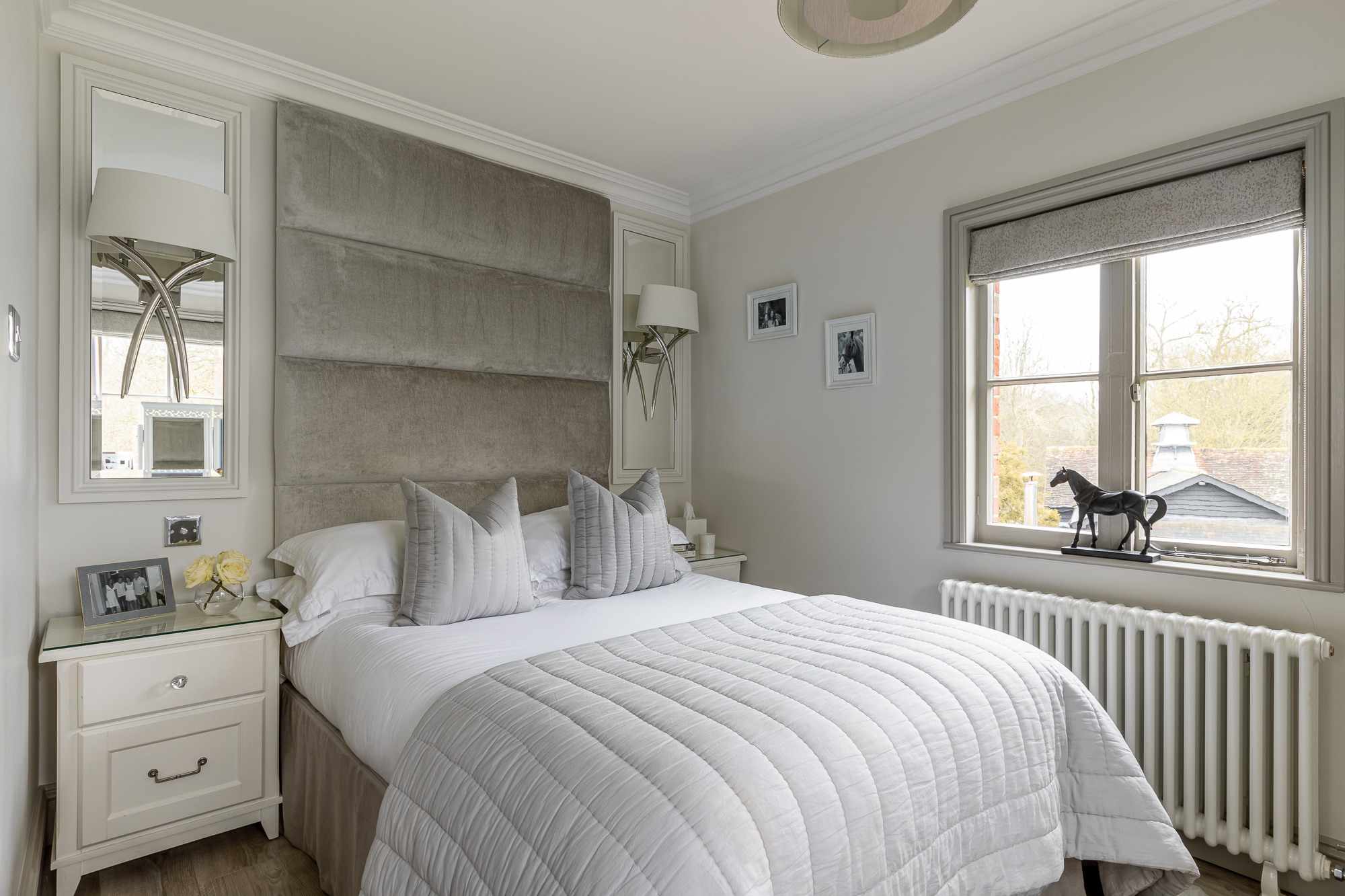 jonathan bond, interior photographer, double bed in bedroom, harlow