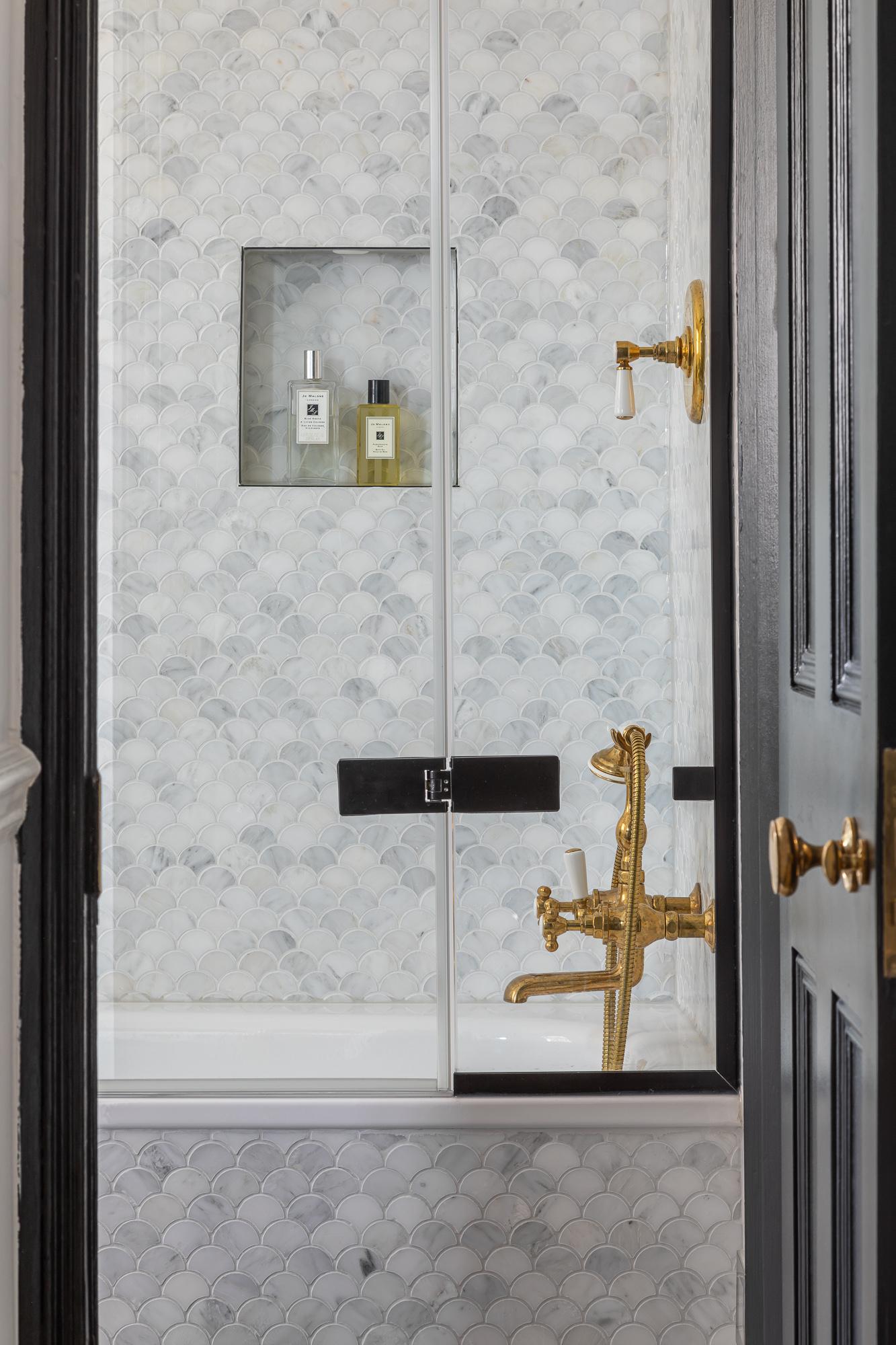 jonathan bond, bath & shower view from hallway, clapham, london