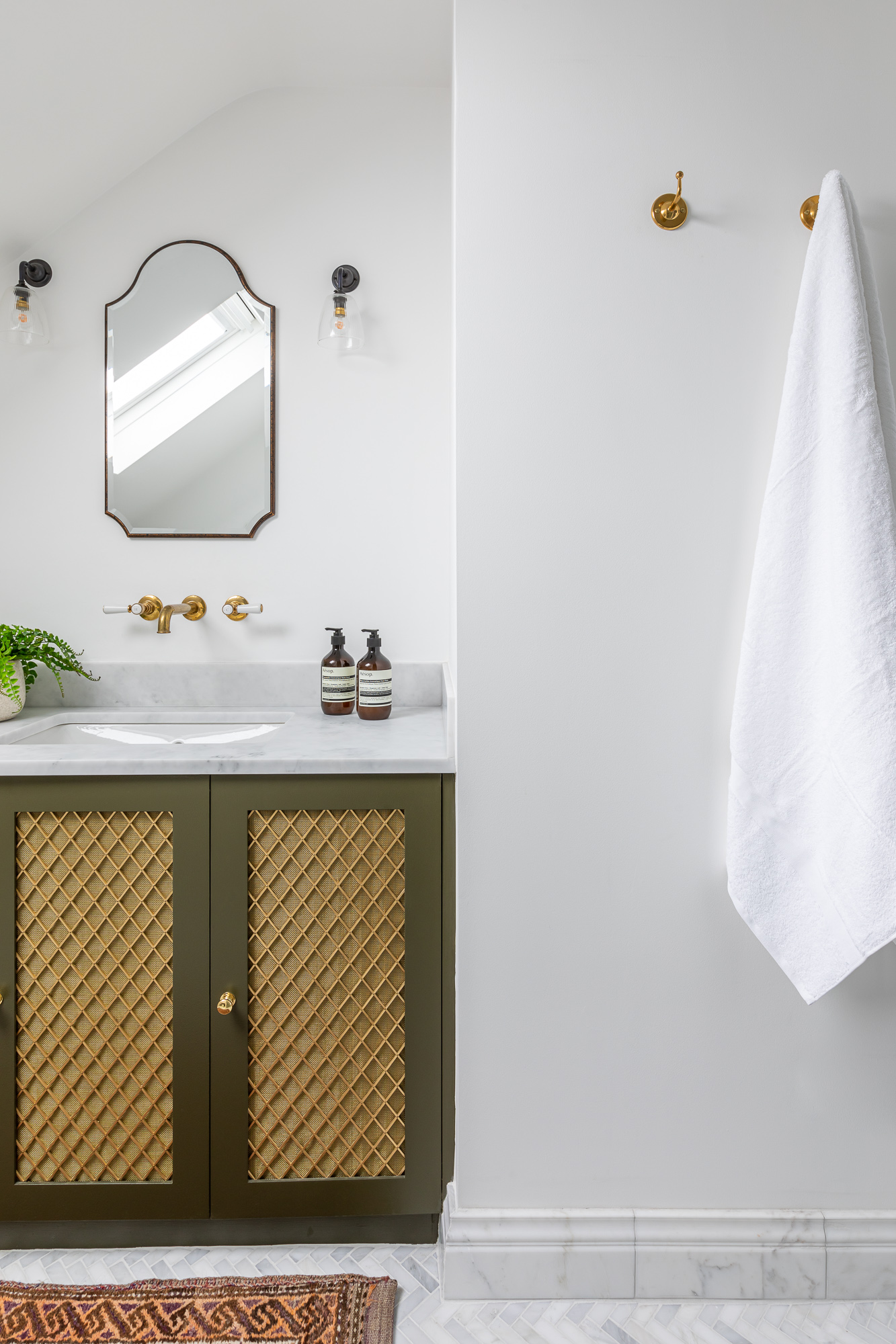 jonathan bond, bathroom vanity cabinet & towel wall hooks, clapham, london