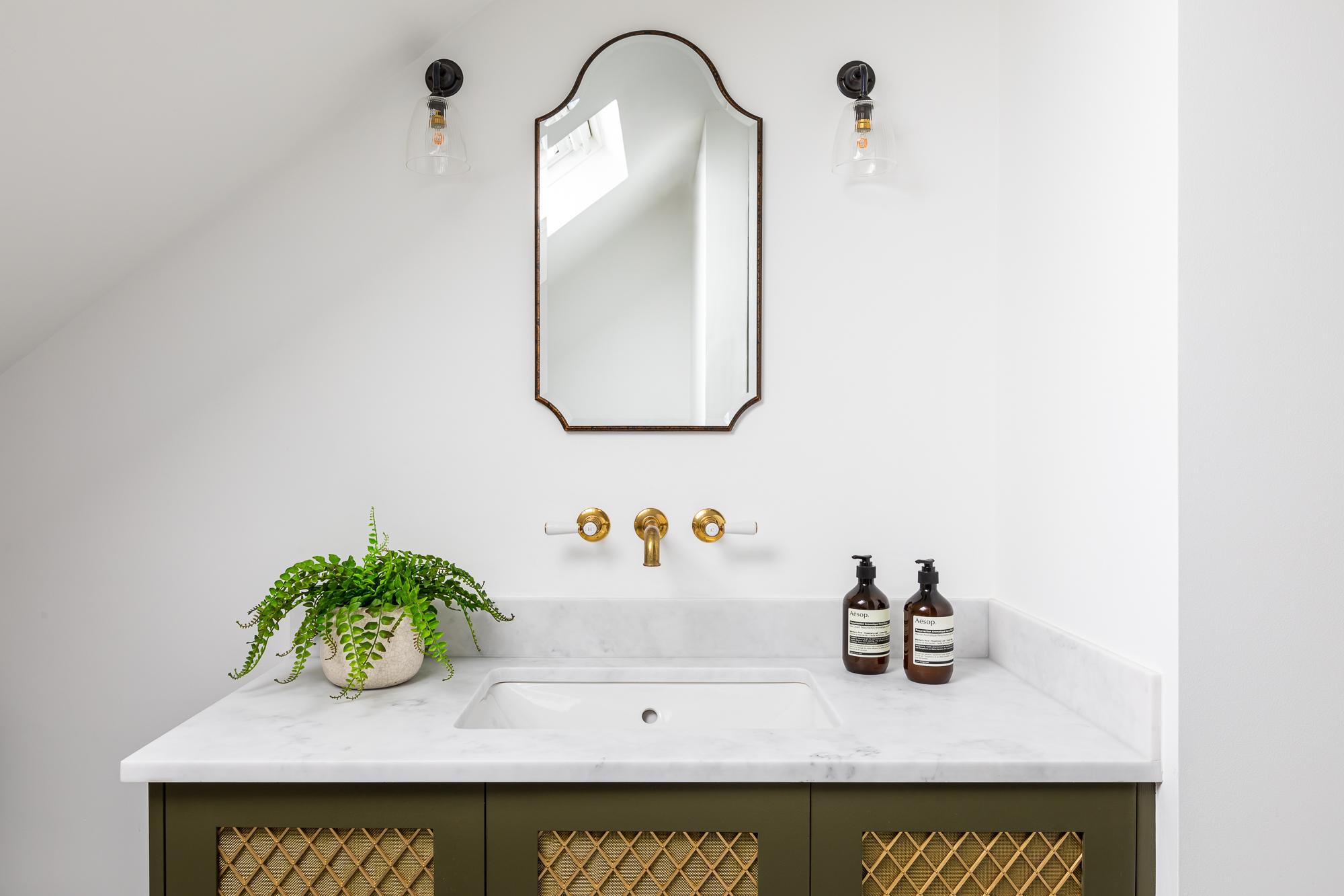jonathan bond,  bathroom vanity cabinet & wall mirror, clapham, london