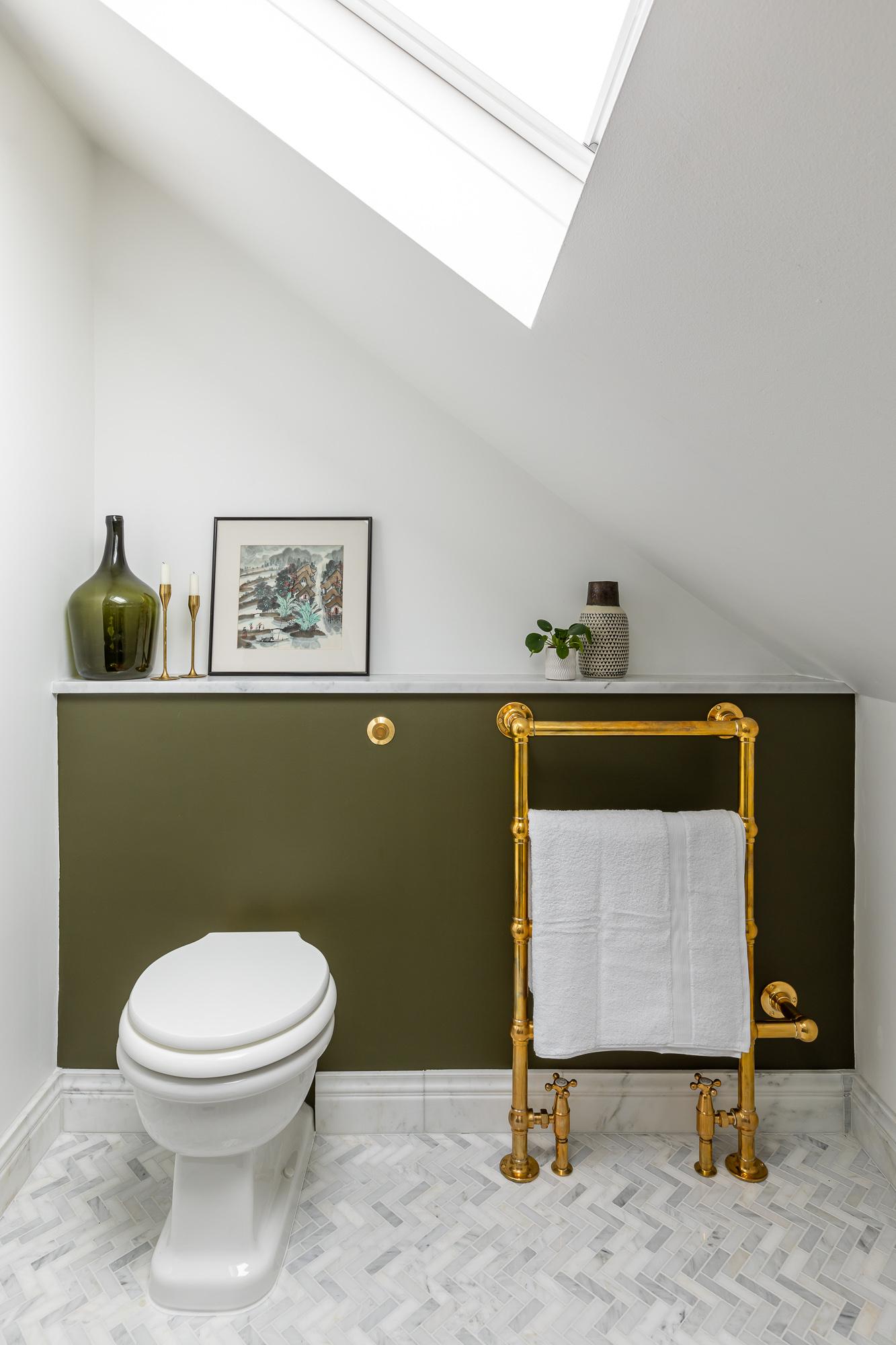 jonathan bond,  bathroom toilet and gold towel radiator, clapham, london