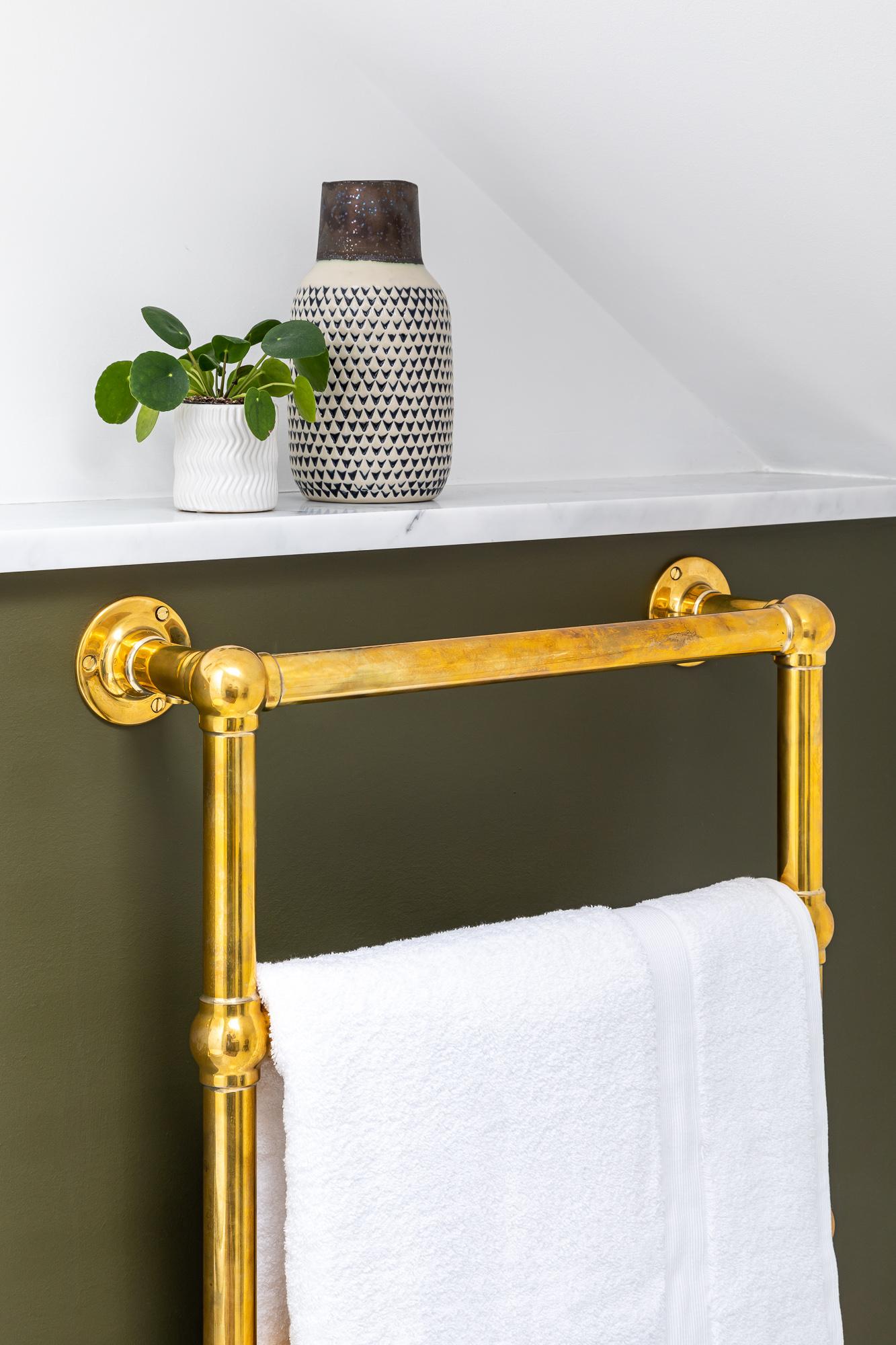jonathan bond,  bathroom gold towel radiator, clapham, london