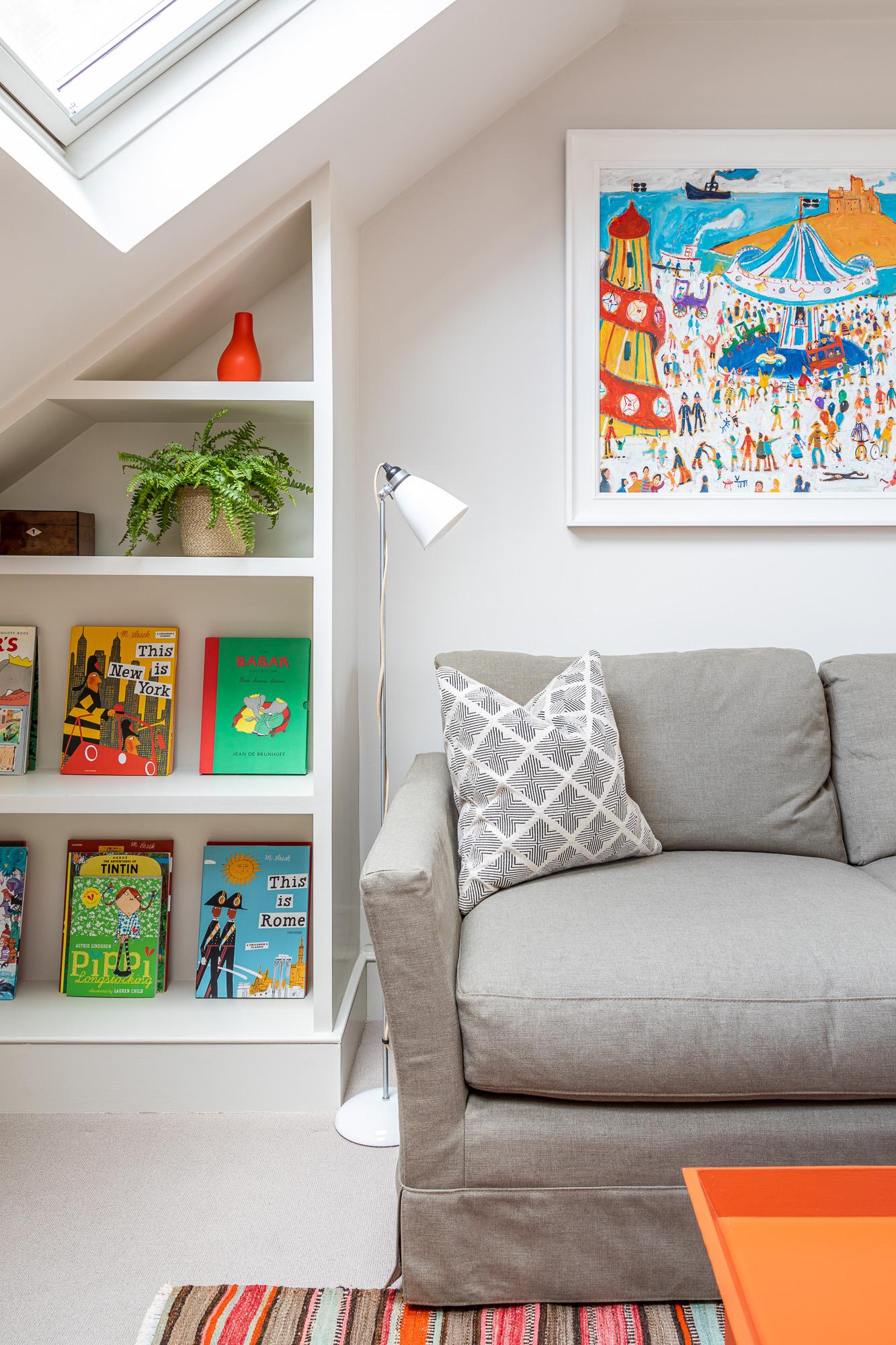 jonathan bond, floor lamp & sofa, clapham, london