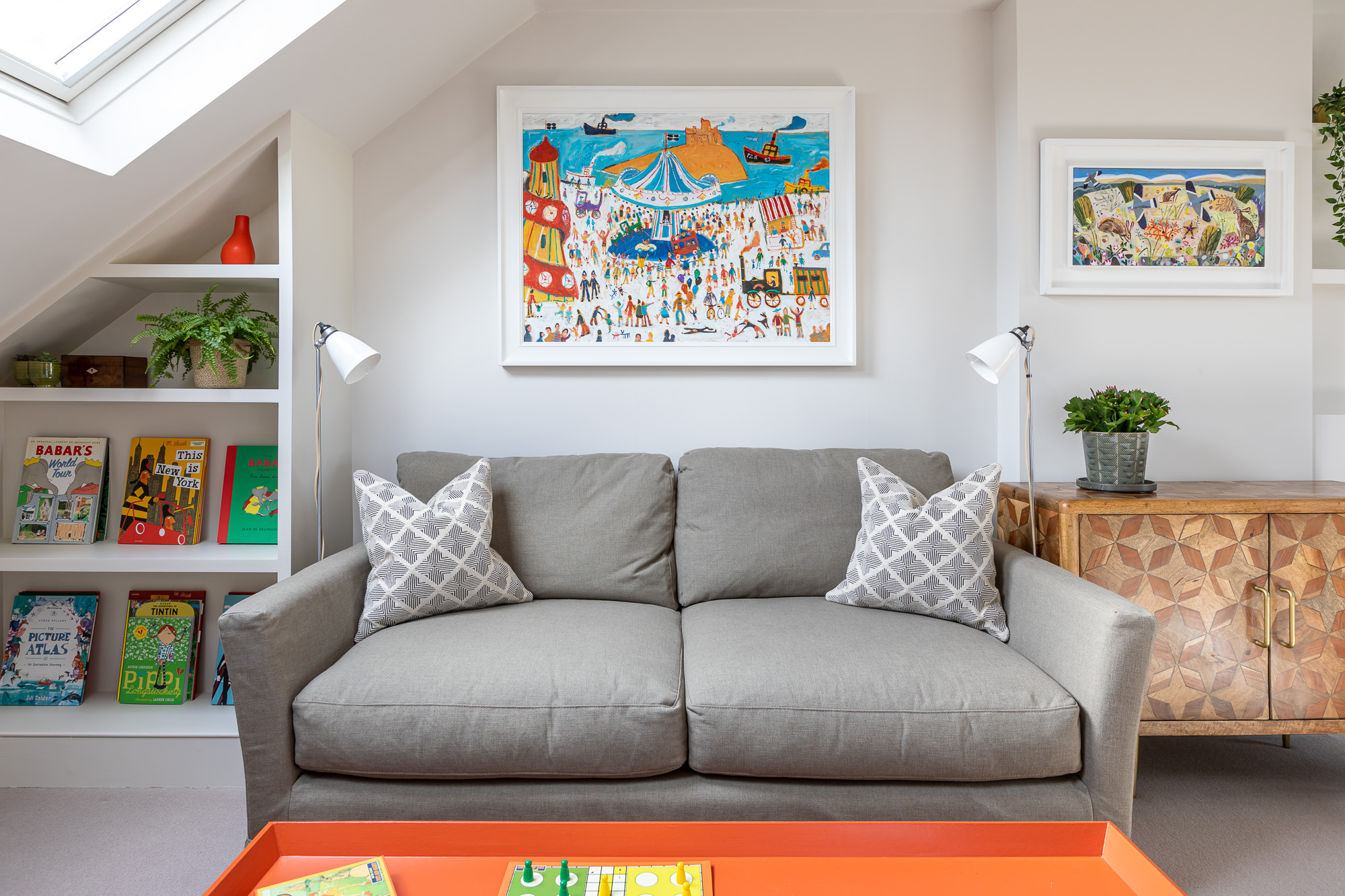 jonathan bond, 2 seater sofa & floor lamps, clapham, london