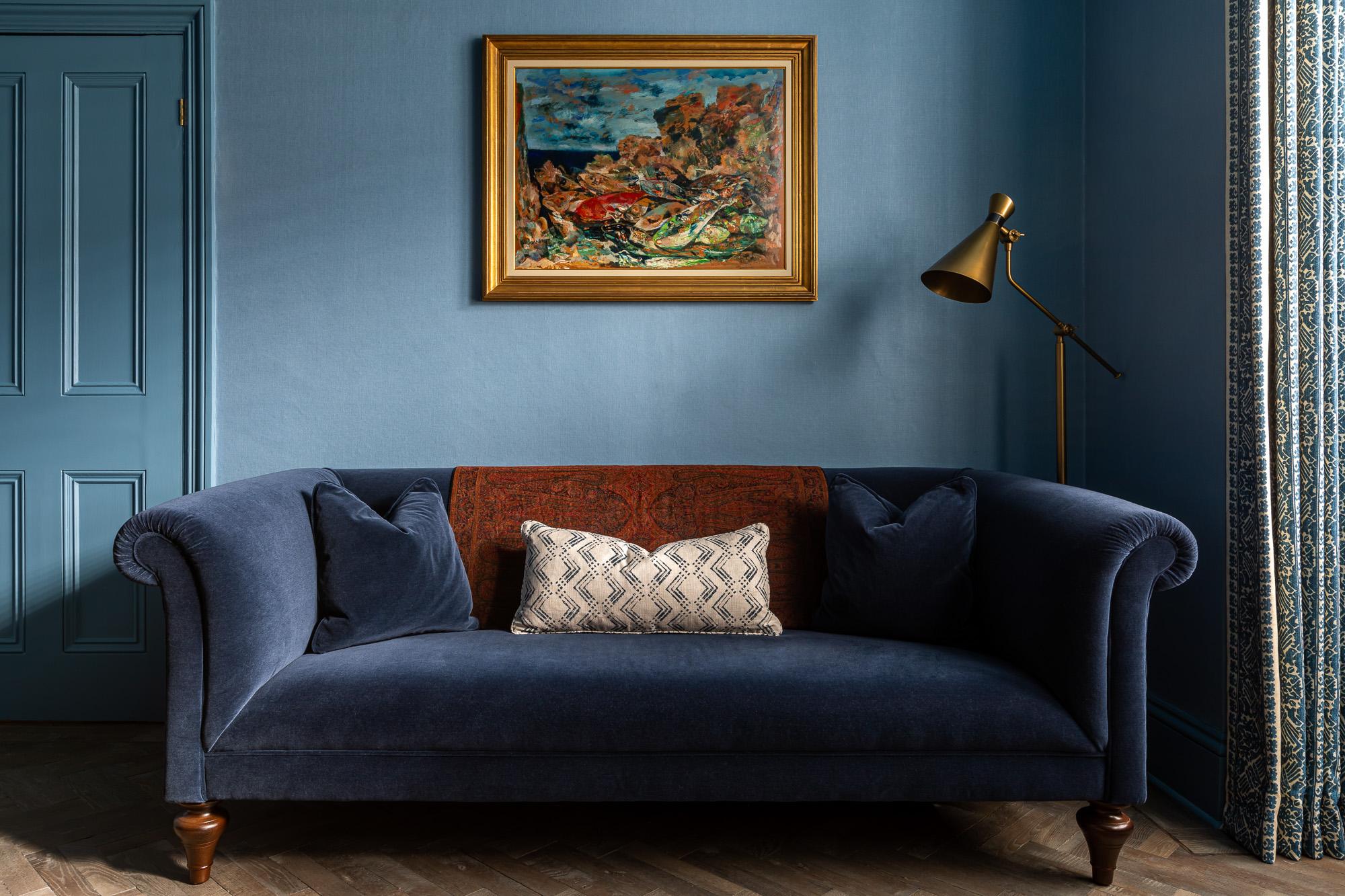 jonathan bond, blue velvet sofa & floor lamp, drinks cabinet, clapham, london