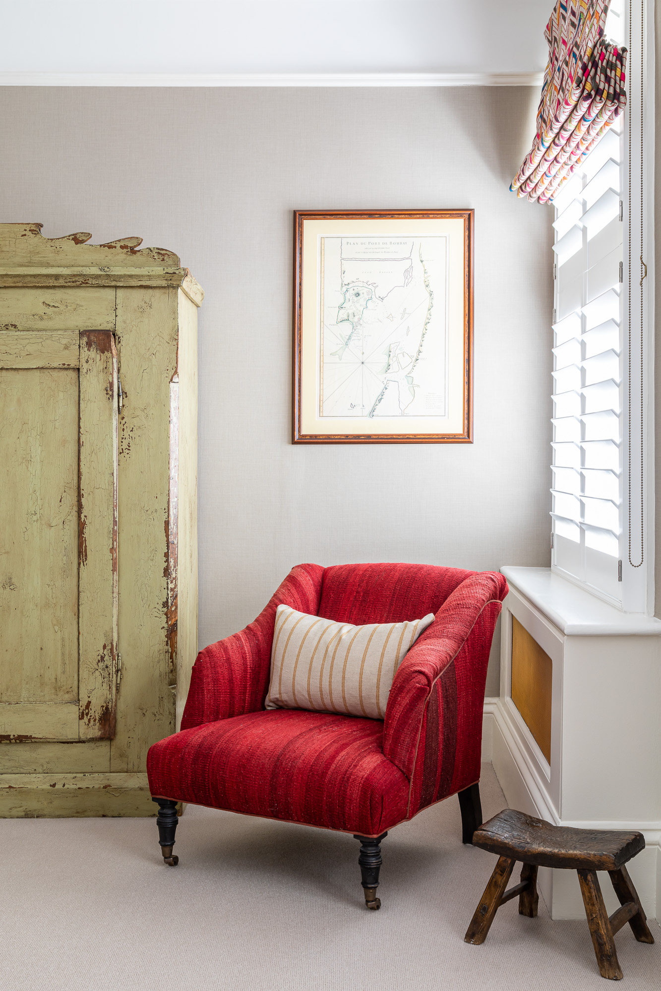 jonathan bond, red armchair by bedroom window, clapham, london