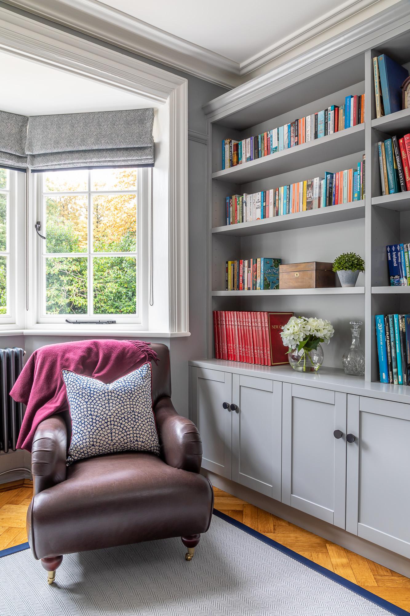 jonathan bond, interior photographer, leather armchair in study, great missenden, buckinghamshire