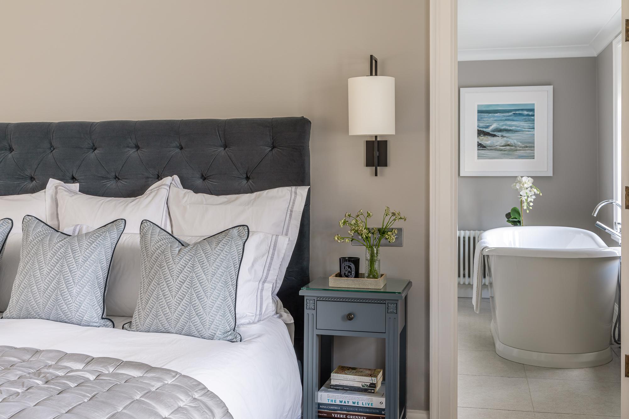 jonathan bond, interior photographer, view of en suite bathroom from bedroom, great missenden, buckinghamshire