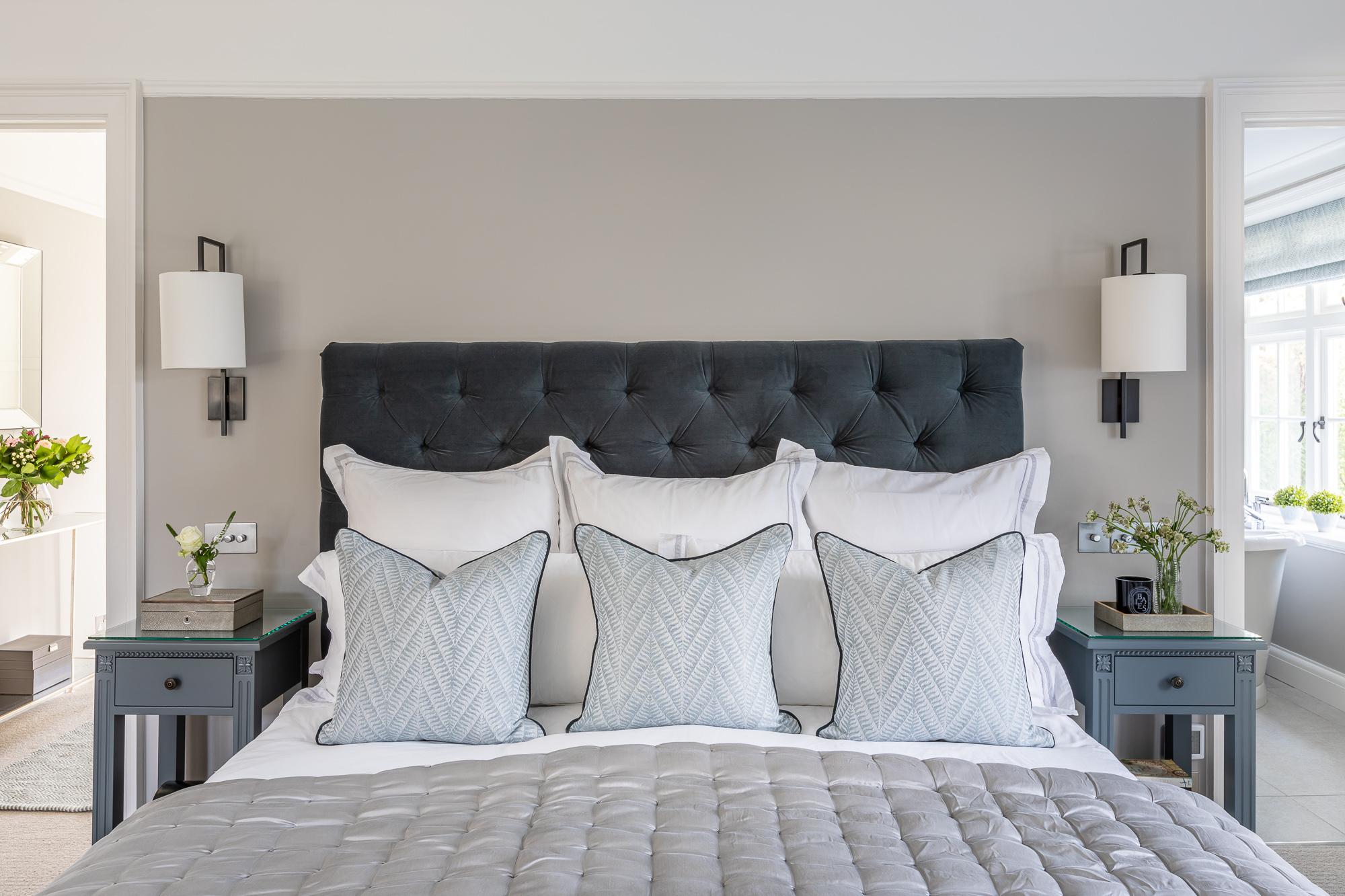 jonathan bond, interior photographer, double bed in bedroom, great missenden, buckinghamshire