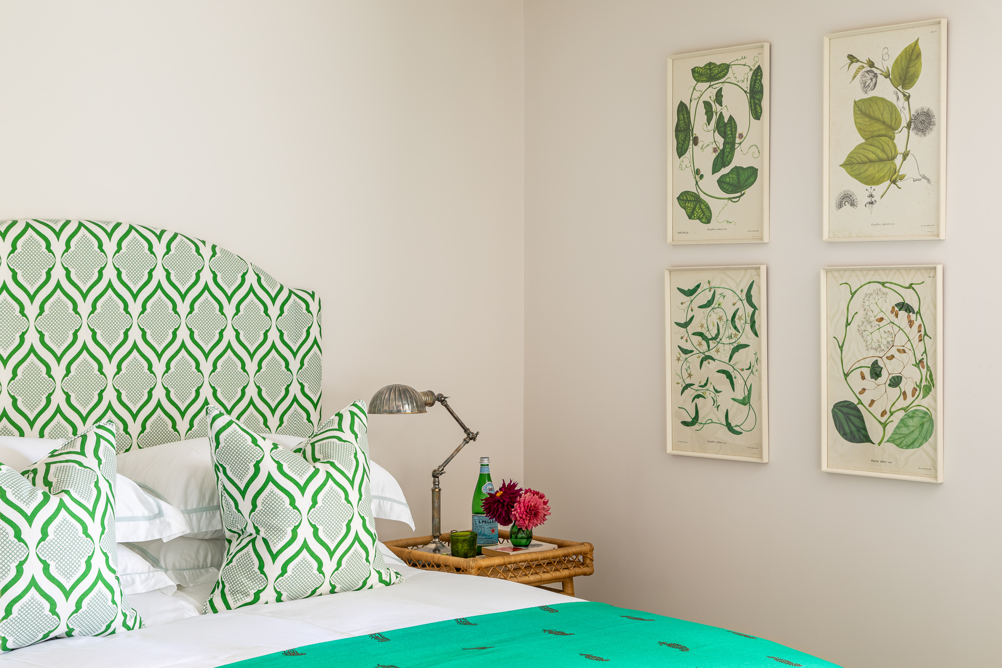 jonathan bond, interior photographer, double bed green & white pattern headboard marnhull