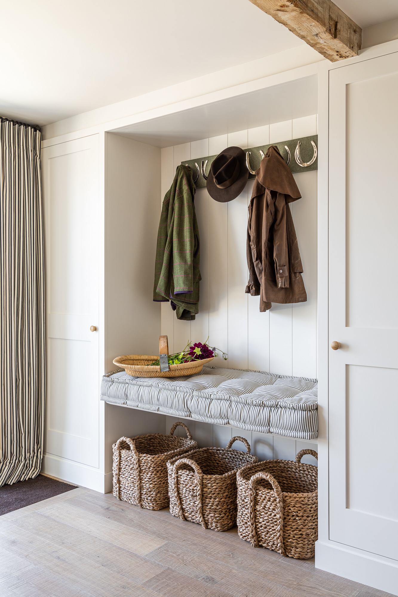 jonathan bond, interior photographer, wall mounted coat rack & seat marnhull