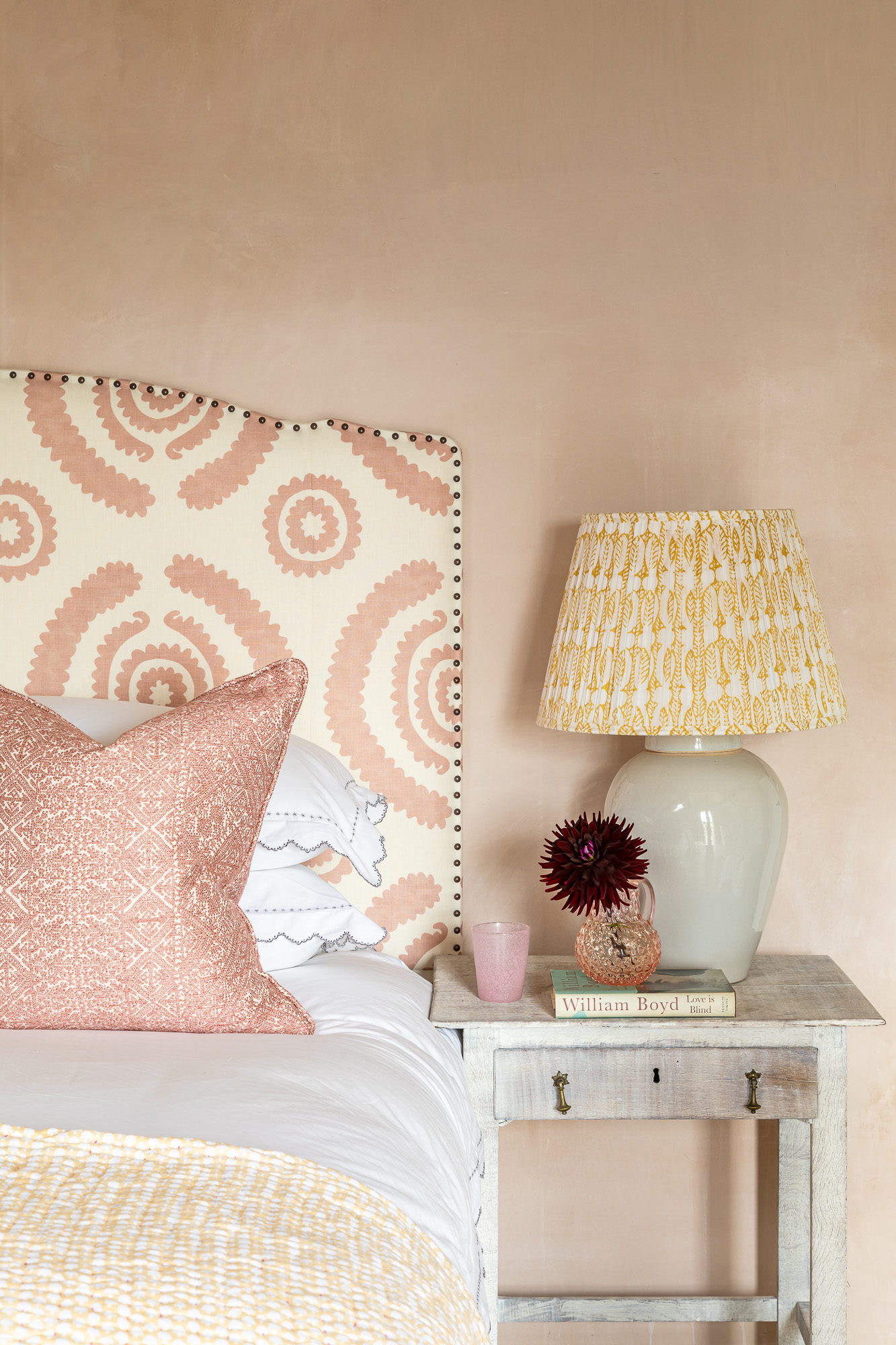 jonathan bond, bedroom pink patterned scatter cushion bedside lamp marnhull