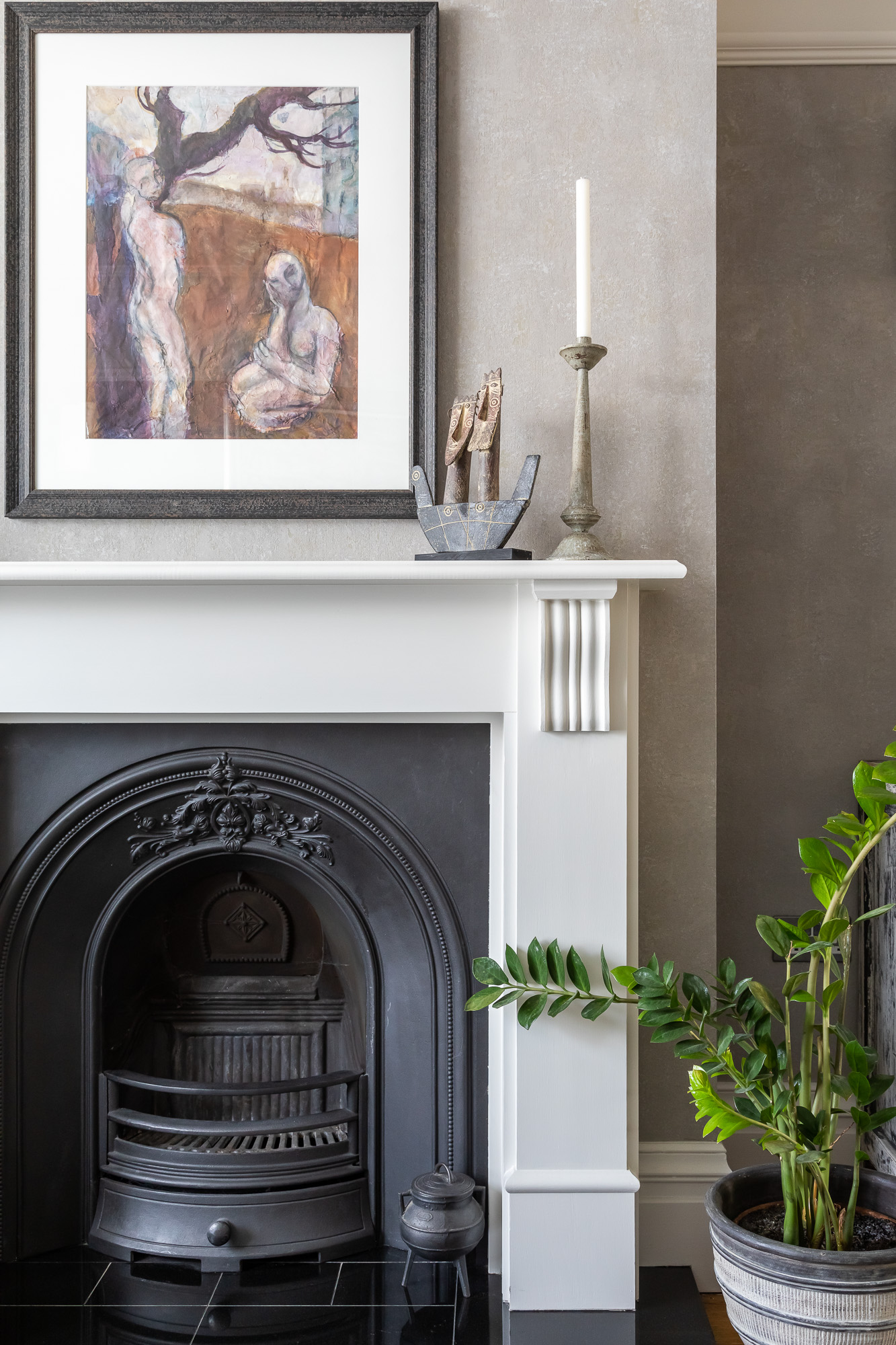 jonathan bond, interior photographer, fireplace & potted plant, mill road, cambridge
