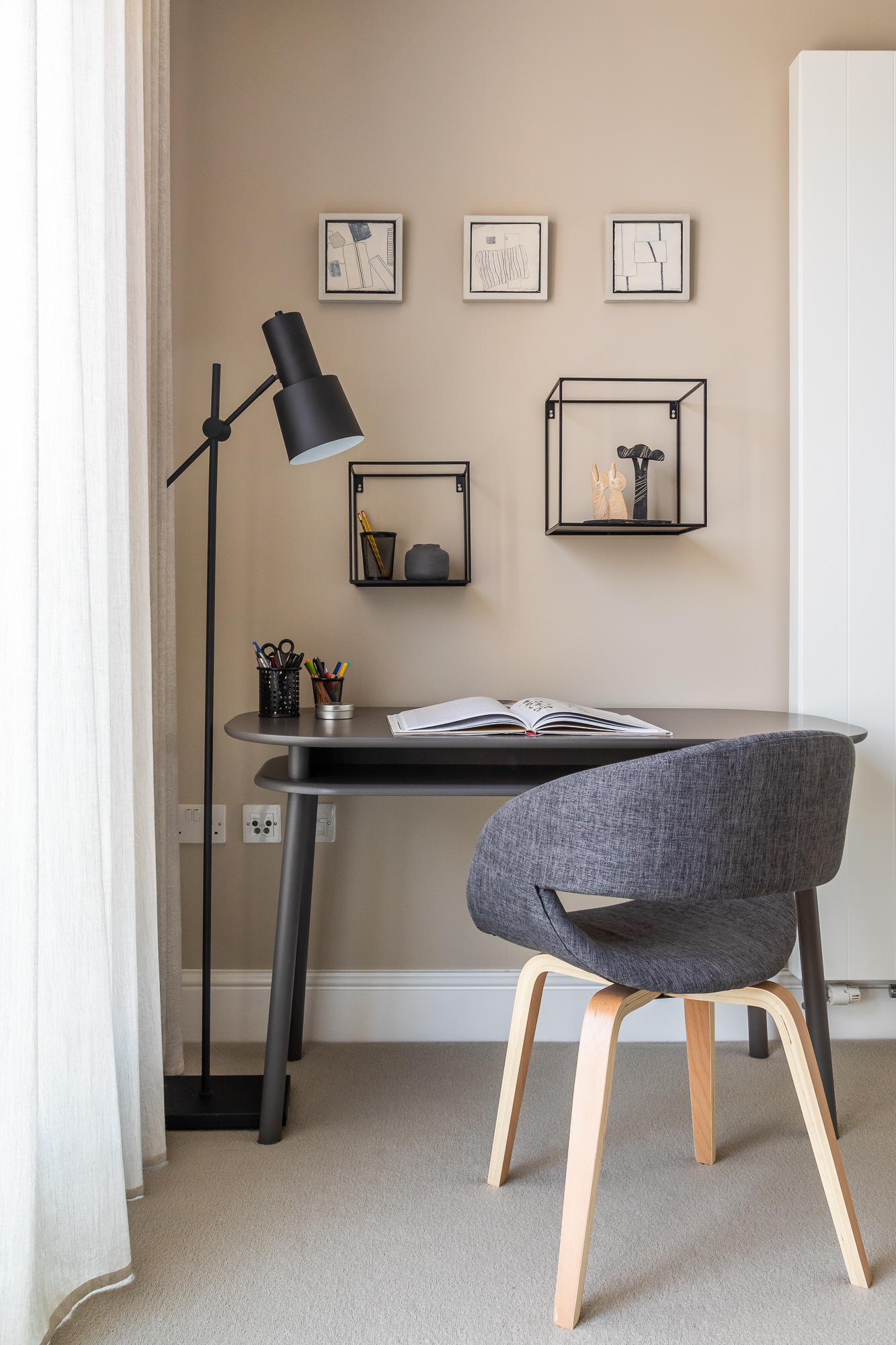 jonathan bond, floor lamp, writing desk & chair, mill road, cambridge