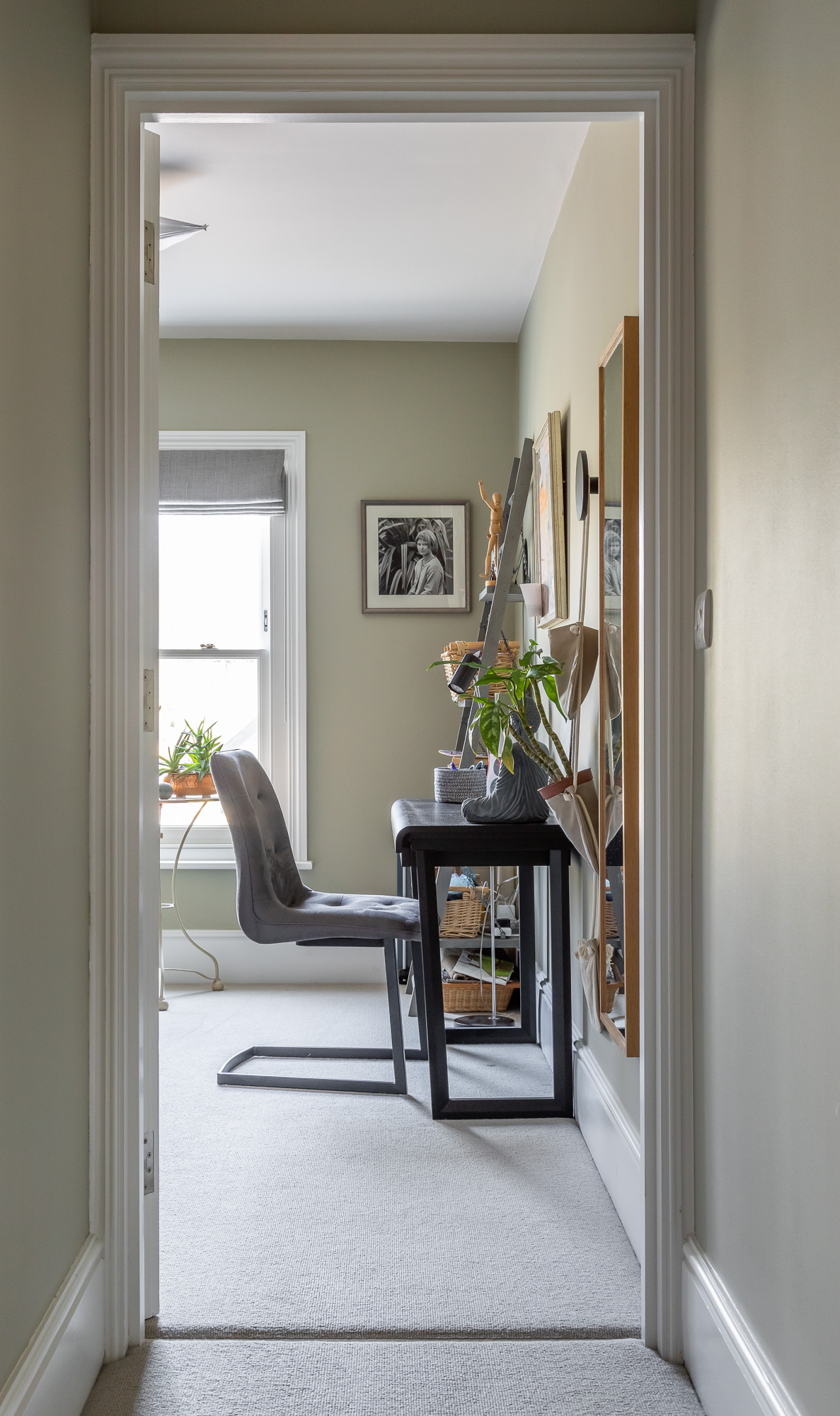 jonathan bond, view of writing desk & chair from hallway, mill road, cambridge