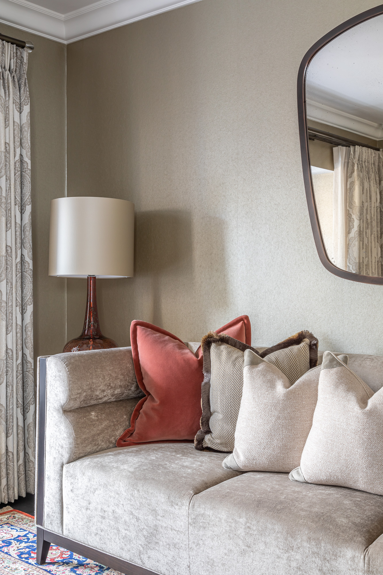 jonathan bond, interior photographer, cushions on settee in living room, esher, surrey
