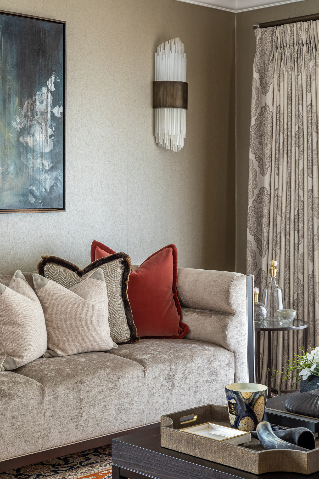 jonathan bond, interior photographer, cushions on settee in living room near curtains, esher, surrey