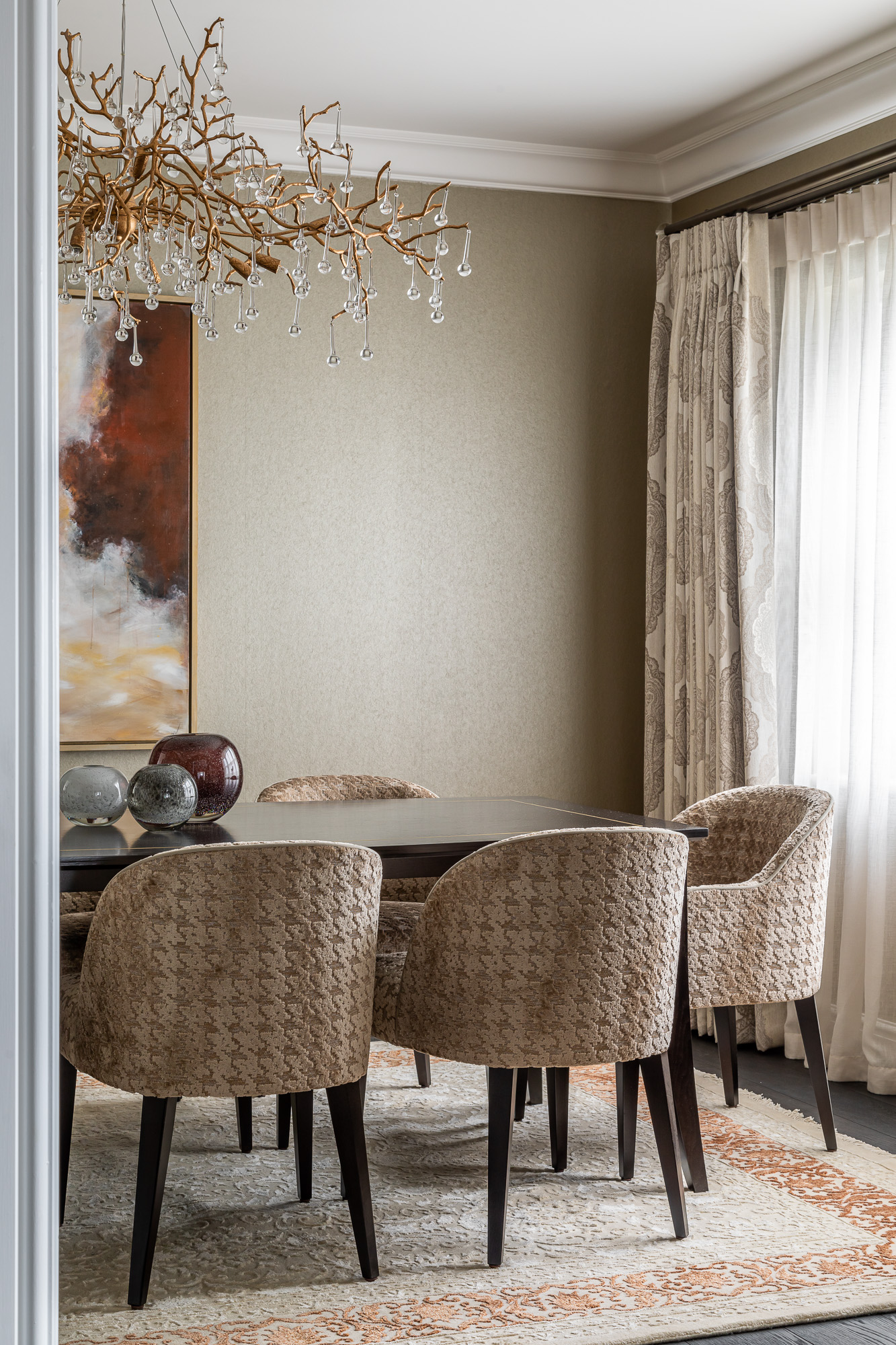 jonathan bond, interior photographer, dining room table & chairs, esher, surrey