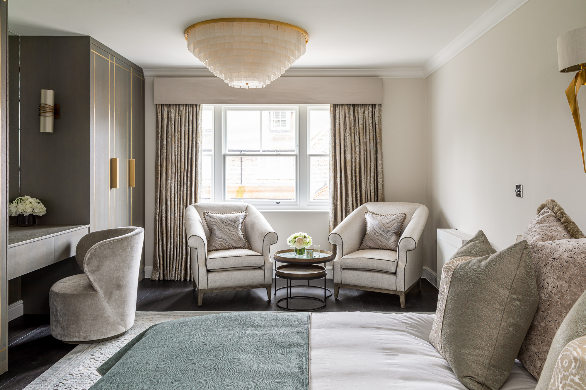 jonathan bond, interior photographer, bedroom chairs and bed, esher, surrey