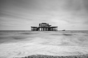 Jonathan Bond, Brighton, pier, old pier, Brighton old pier, black and white, sea, long exposure