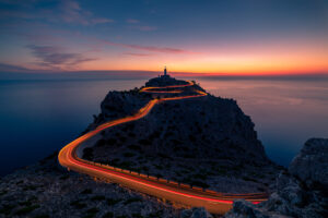 Jonathan Bond, cap de Formentor, lighthouse, Mallorca, Spain, light trails, sunrise