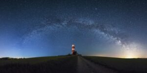 Milky Way arching over the Happisburgh lighthouse