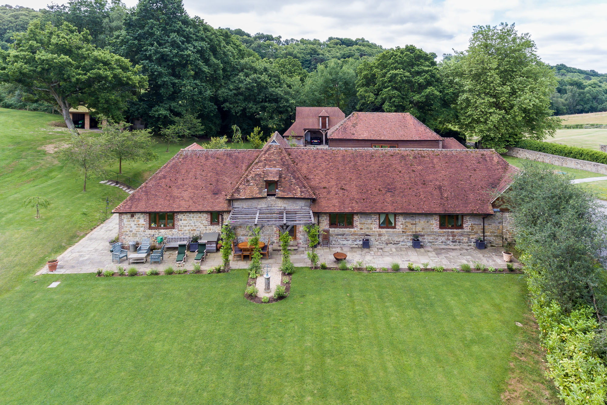 jonathan bond aerial photographer, aerial drone view of residential house & garden