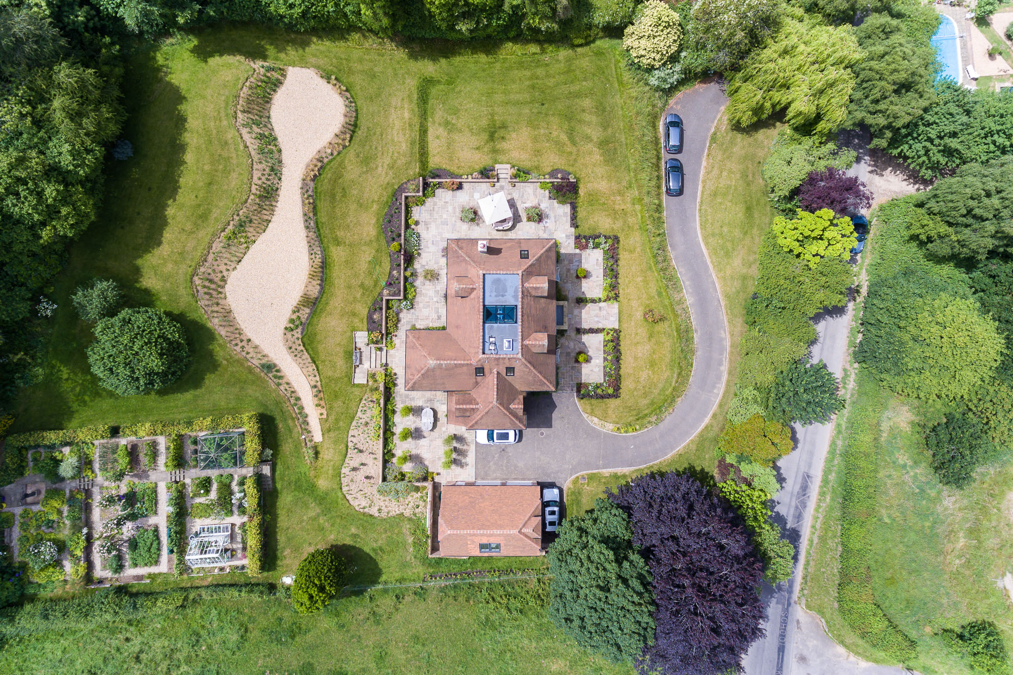 jonathan bond aerial photographer, overhead view detached residential house