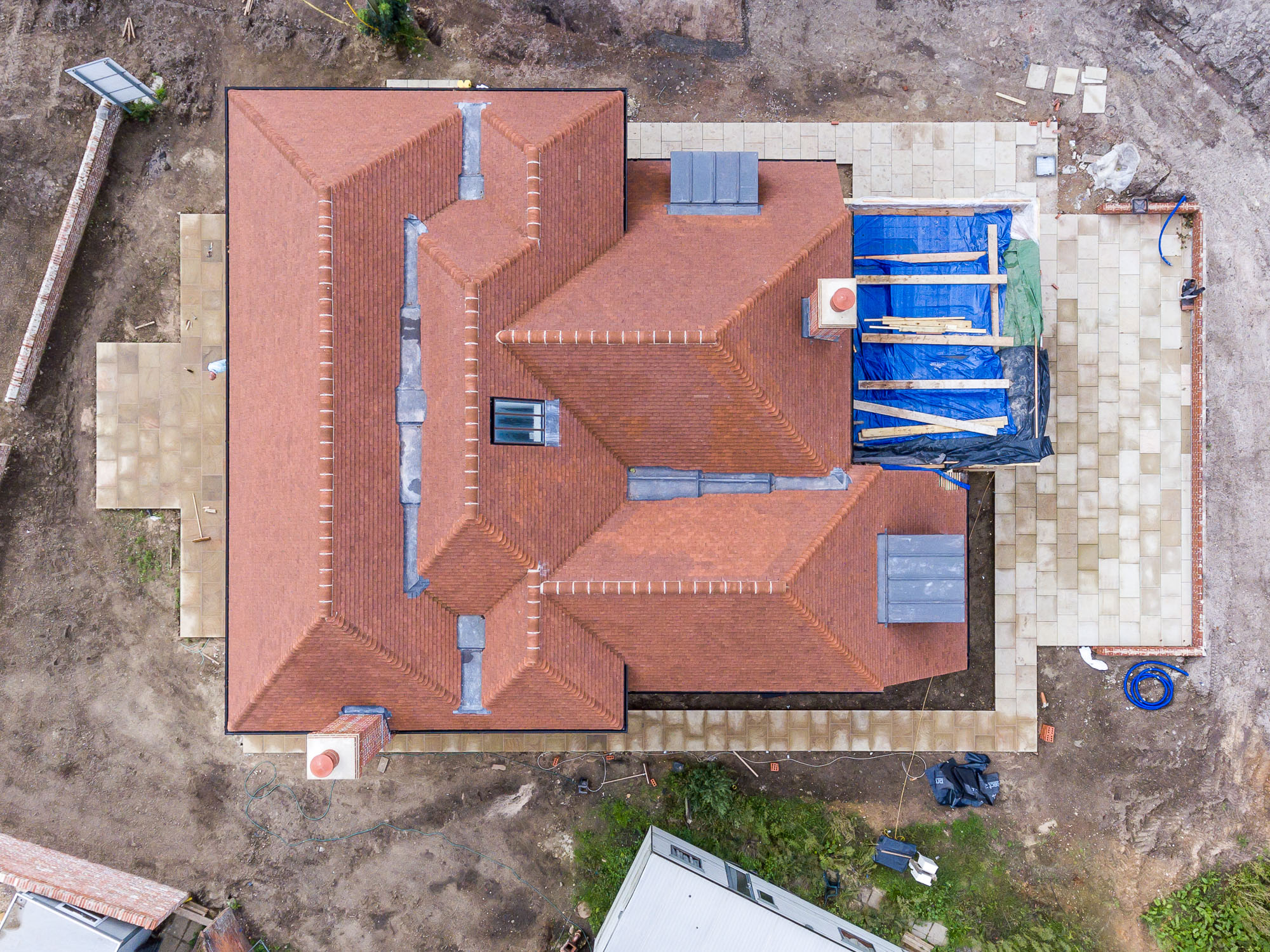jonathan bond aerial photographer, overhead view of renovating building using drone
