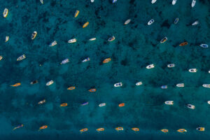 Boats on mooring bouys in Salcombe from the air
